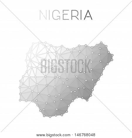 Nigeria Polygonal Vector Map. Molecular Structure Country Map Design. Network Connections Polygonal