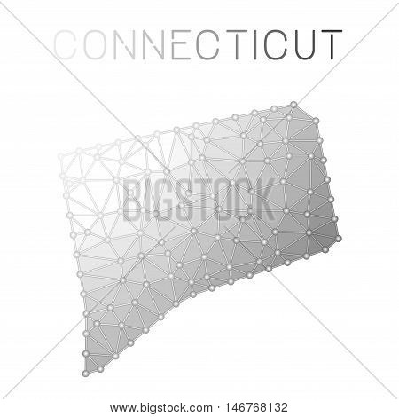 Connecticut Polygonal Vector Map. Molecular Structure Us State Map Design. Network Connections Polyg