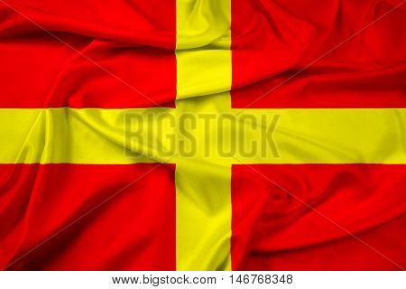 Waving Flag of Messina Sicily Italy, with beautiful satin background. 3D illustration