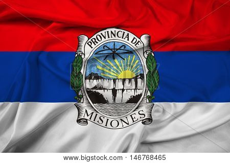Waving Flag Of Misiones Province With Coat Of Arms, Argentina
