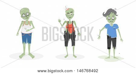 Scary zombies set. Green zombies with brain and bone. Scary reanimated monsters for halloween decoration.