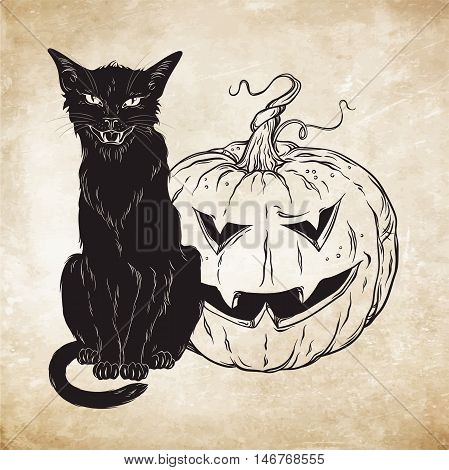 Black cat sitting with halloween pumpkin over old grunge paper background vector illustration. Wiccan card design. Witches familiar spirit animal
