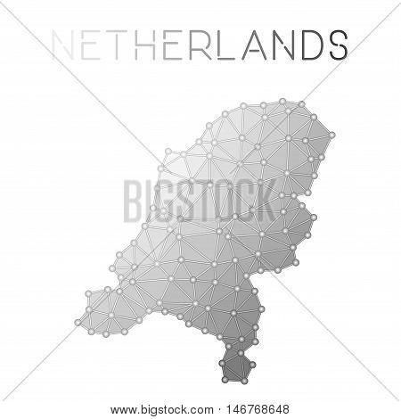 Netherlands Polygonal Vector Map. Molecular Structure Country Map Design. Network Connections Polygo