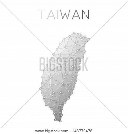 Taiwan, Republic Of China Polygonal Vector Map. Molecular Structure Country Map Design. Network Conn