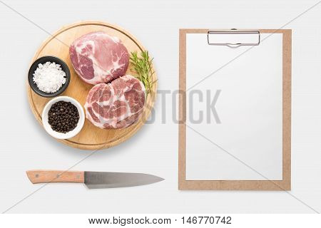 Design Concept Of Mockup Clip Board And Pork On Cutting Board Set Isolated On White Background. Clip