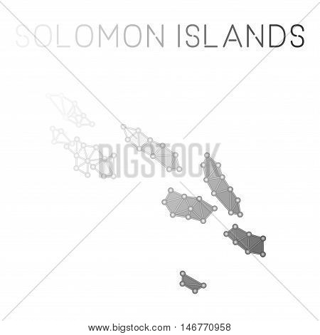 Solomon Islands Polygonal Vector Map. Molecular Structure Country Map Design. Network Connections Po