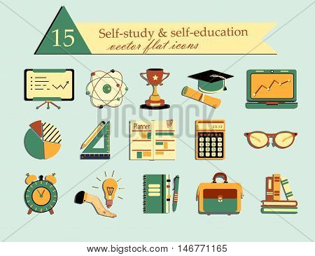 Self study and education themed icons set. Flat style vector illustrations - calculator, atom, cup, suitcase, notebook, book, glasses, planner, lamp, clock.