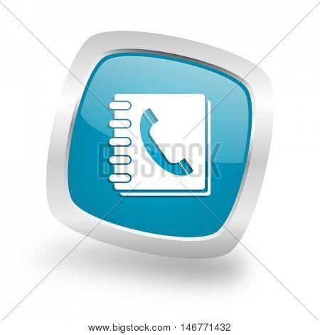 phonebook square glossy chrome silver metallic web icon