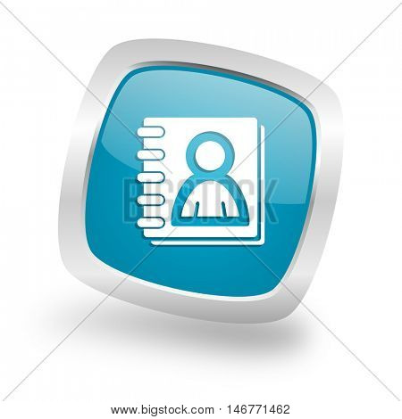 address book square glossy chrome silver metallic web icon