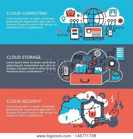 Modern flat thin line design vector illustration conceptual set of remote cloud data storage cloud computing technologies and protect cloud networks for graphic and web design