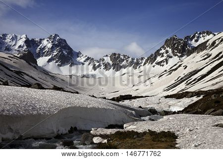River With Snow Bridges In Spring Mountains At Sun Morning