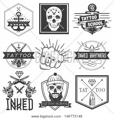 Vector set of tattoo school emblems, logos, banners, labels or badges. Monochrome skulls, anchors, fist in vintage style., isolated inked brothers stickers