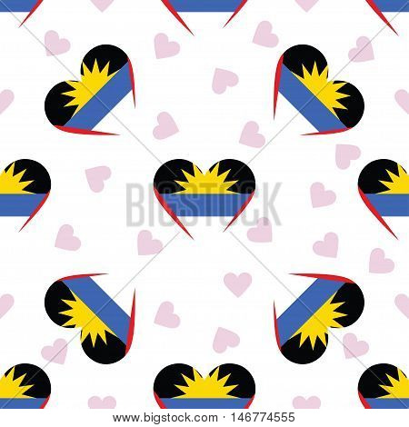 Antigua And Barbuda Independence Day Seamless Pattern. Patriotic Background With Country National Fl
