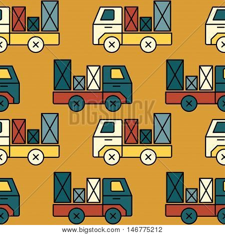 Seamless toy truck pattern with parcel. Perfect for any kid material or wallpaper.