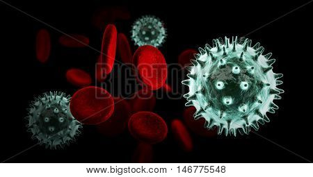 Virus In Blood With Red Blood Cells,