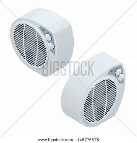 Isometric electric heater. Home Heating appliances icons. Household appliances