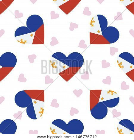 Philippines Independence Day Seamless Pattern. Patriotic Background With Country National Flag In Th