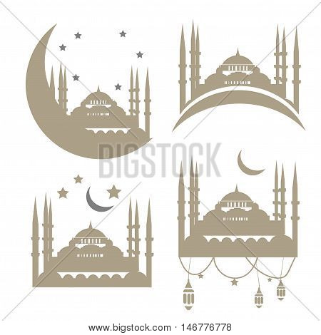 Muslim Community Vector Templates With the ancient Mosque in gold and silver color. Mosque with minarets and moons Vector Set.