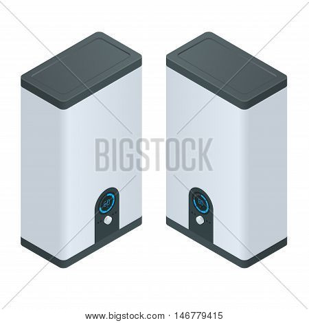 Isometric Home electric heating boiler. Home Heating appliances icons. Household vector appliances
