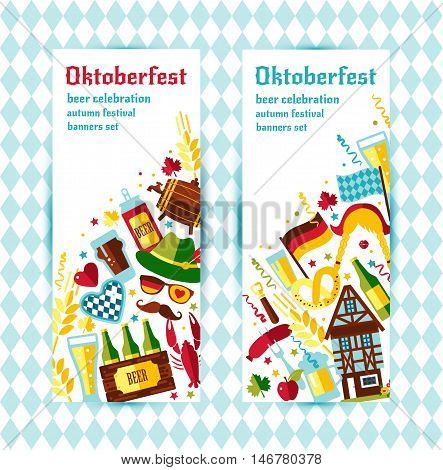 Flat Design Vector Banners Set With Oktoberfest Celebration Symbols. Oktoberfest Celebration Design