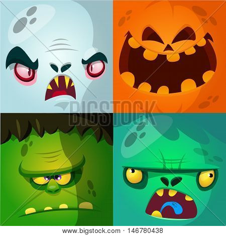 Cartoon monster faces vector set. Cute square avatars and icons. Monster pumpkin face vampire zombie