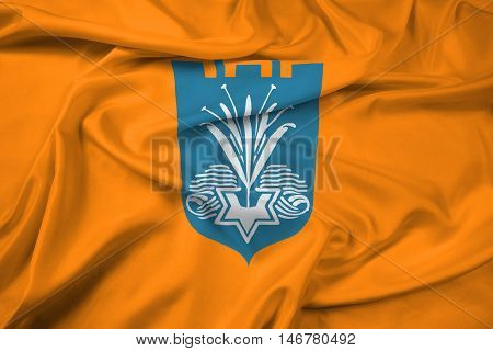 Waving Flag of Netanya Israel, with beautiful satin background. 3D illustration