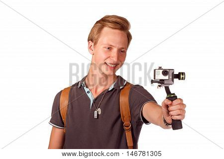 Videographer holds mobile camera on gimbal. Isolated on white.