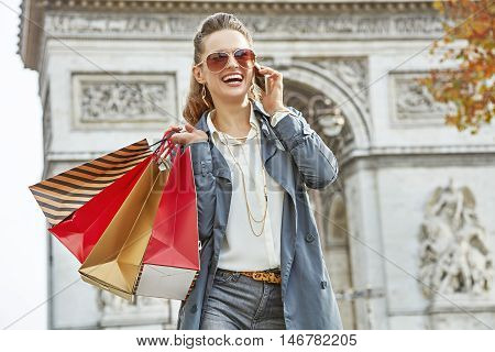 Fashion-monger Near Arc De Triomphe Using Mobile Phone, Paris