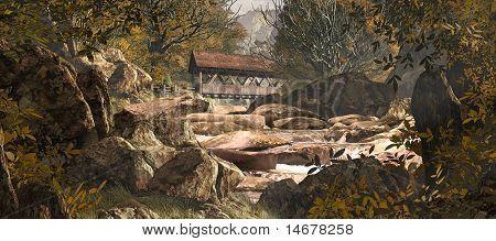 Old Covered Bridge Upstream