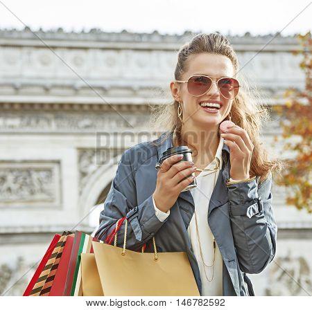 Fashion-monger Near Arc De Triomphe Having Coffee And Macaroon