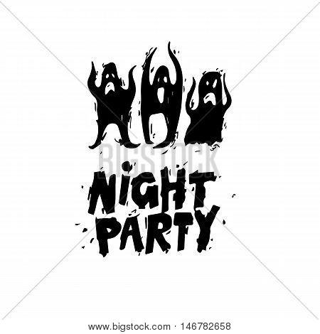 Happy halloween poster, banner, fly-er. Ghosts. Black on white. Lettering. Halloween party. Flat design vector illustration.