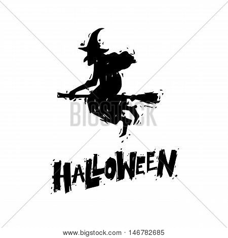 Happy halloween poster, banner, fly-er. Witch flying on a broomstick. Black on white. Lettering. Halloween party. Flat design vector illustration.