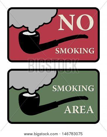 No Smoking and Smoking area signs, vector illustration