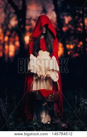 Mysterious Little Red Riding Hood in the Forest