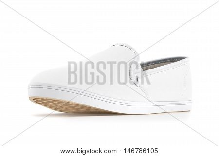 Blank white slip-on shoe design mockup isolated clipping path 3d rendering. Plain hipster slipon mock up template stand profile view. Urban skate shoes with clear label presentation.