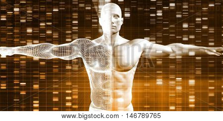 DNA Sequence with Genetics Data of a Human Male 3D Render