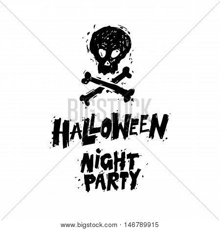 Happy halloween poster, banner, fly-er. Skull and Bones. Black on white. Lettering. Halloween party. Flat design vector illustration.