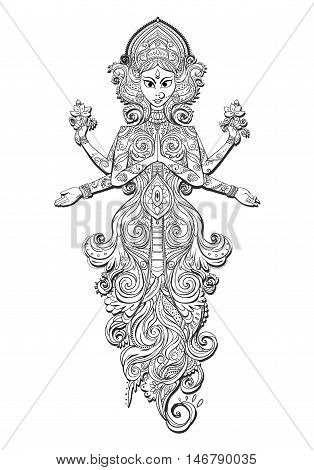 Ornament card with of Maa Durga. Illustration of Happy Navratri, Dussehra