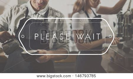 Please Wait Follow Lined Patient Appointment Visit Concept
