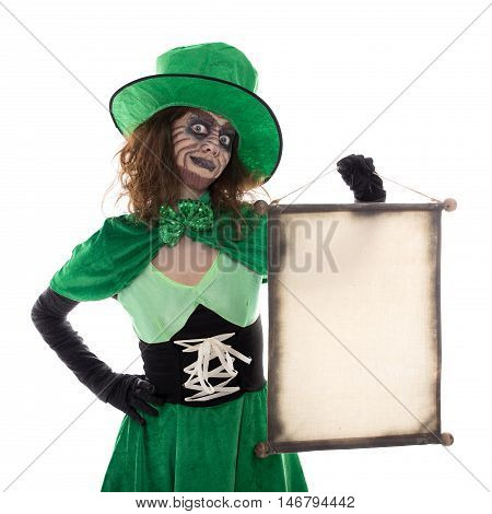 Funny Goblin Girl Holding A Scroll With Copyspace, Isolated On White