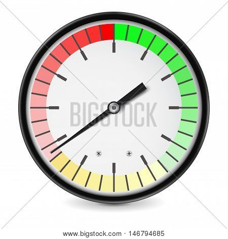 Measuring gauge. Universal colored dial. Vector illustration isolated on white background