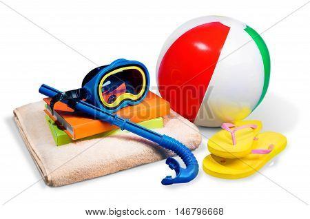 Flip-Flops, Towel, Beach Ball, Books and Diving Mask