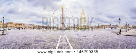 Panorama with Place de la Concorde in Paris - Panoramic view in Paris France with the Place de la Concorde under a cloudy sky of February.
