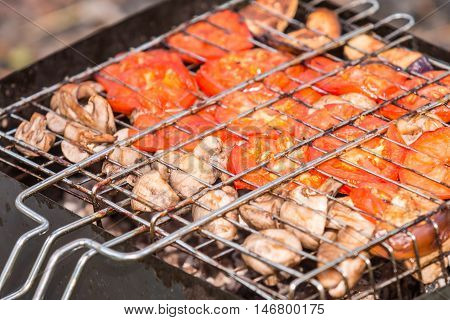 Delicious grilled vegetable over the coals on a barbecue outdoor
