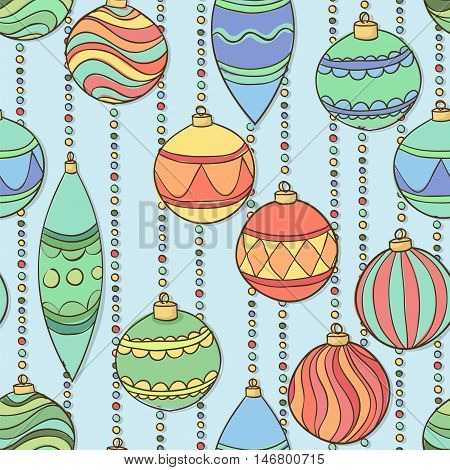 Beautiful Vector seamless pattern with christmas balls