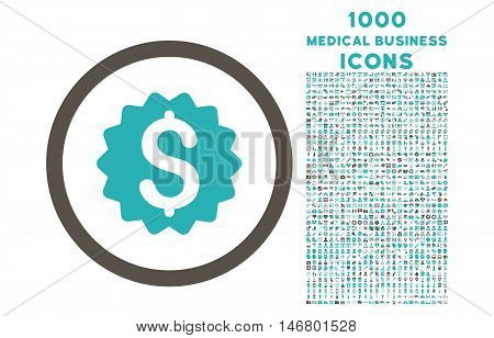 Financial Reward Seal rounded vector bicolor icon with 1000 medical business icons. Set style is flat pictograms, grey and cyan colors, white background.