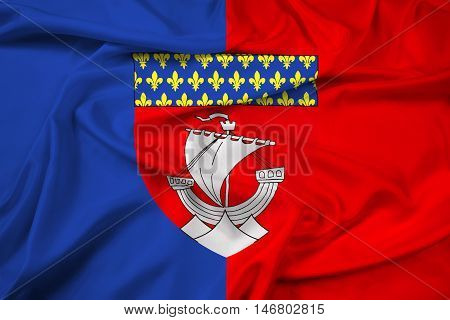 Waving Flag of Paris with Coat of Arms (Escutcheon only) France poster