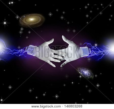 Hands reaching toward each other in space  3D Render   Some elements provided courtesy of NASA