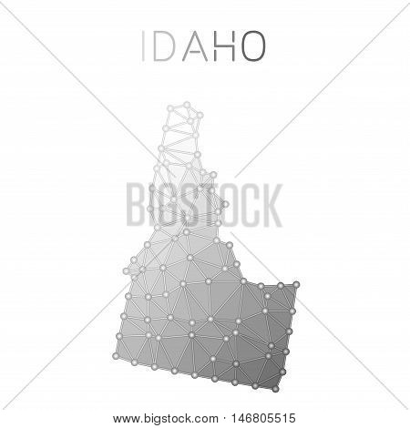 Idaho Polygonal Vector Map. Molecular Structure Us State Map Design. Network Connections Polygonal I