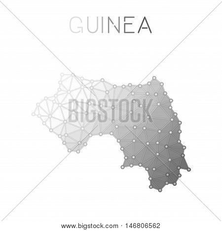 Guinea Polygonal Vector Map. Molecular Structure Country Map Design. Network Connections Polygonal G